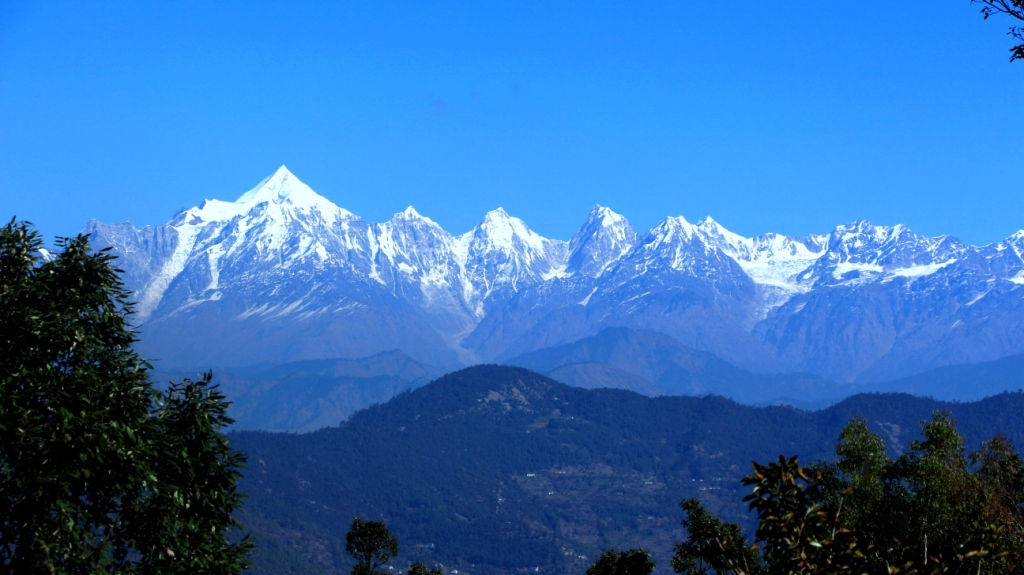 view of Himalaya peaks from Ramgarh Uttarakhand