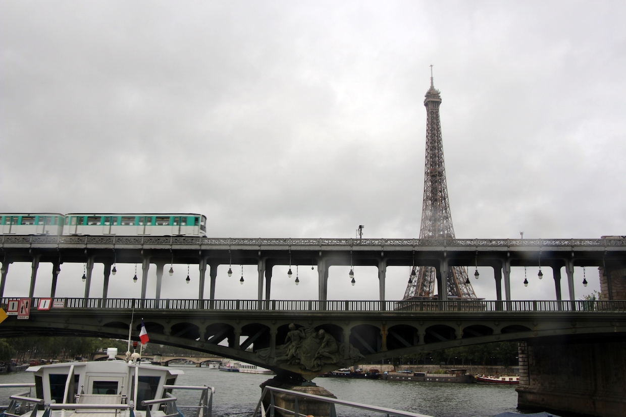 view of Eiffel Tower from seine river cruise